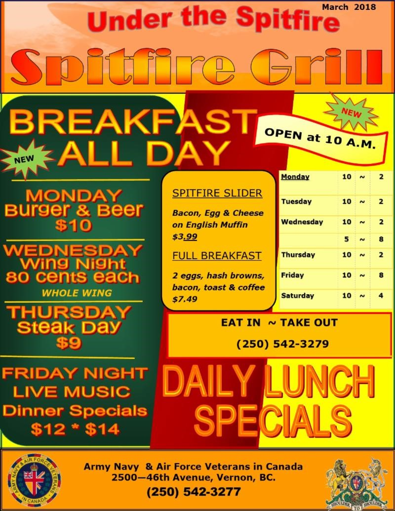Siptfire Grill New Hours 2018-03-20